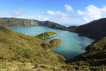 Portugal, Azoren, Sao Miguel, Lago di Fogo, Kratersee