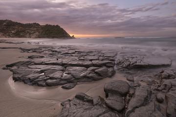 Neuseeland, Süd-Island, Asman, Kahurangi Point, der Abenddämmerung am Strand