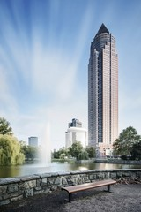 Deutschland, Hessen, Frankfurt am Main, Blick auf Messeturm