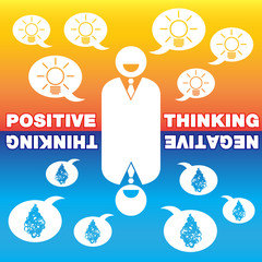 Businessman with positive thinking and negative thinking