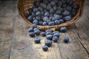 Weidenkorb mit Blaubeeren (Vaccinium myrtillus) auf Holztisch