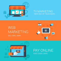 Business concept flat icons set tv web marketing online payment
