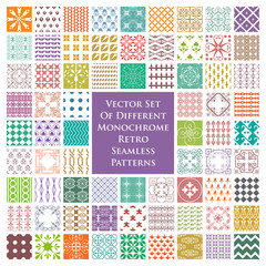 Set of different retro seamless patterns in color