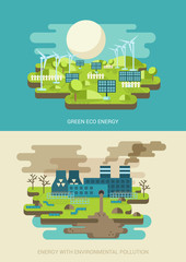 Business concept flat icons set eco energy environment pollution