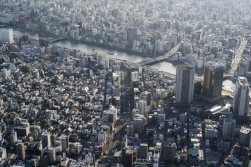 Japan, Tokyo, Blick in Richtung Asakusa und den Sumida-Fluss