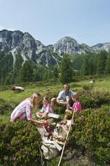 Österreich, Salzburger Land, Altenmarkt-Zauchensee, Familie mit den Kindern, Picknick auf Almwiese