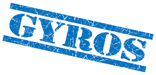 gyros blue grungy stamp on white background