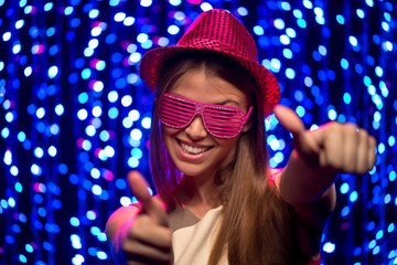 Party girl with hat and glasses
