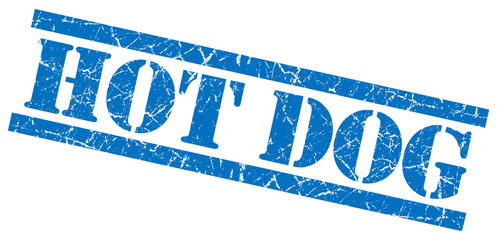 hot dog blue grungy stamp on white background
