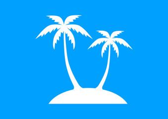 Island icon on blue background