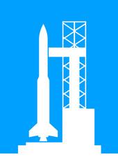 White rocket icon on blue background
