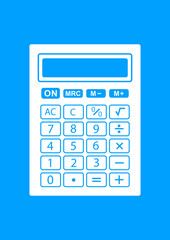 White calculator icon on blue background