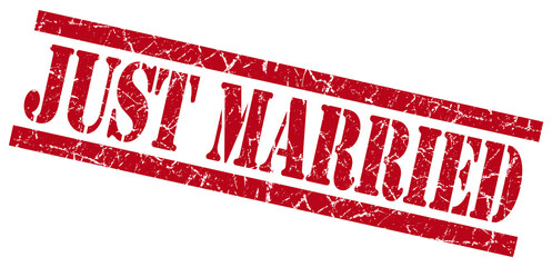 just married red grungy stamp on white background