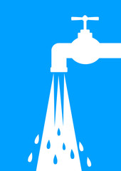 White faucet icon on blue background