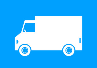 Delivery van on blue background