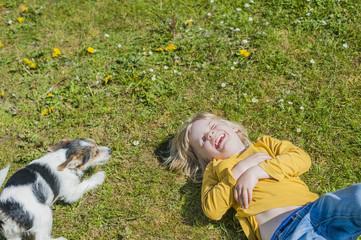 Junge spielt mit Jack-Russel-Terrier-Welpen im Garten