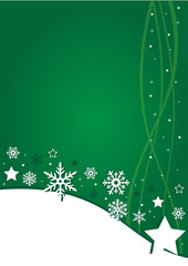 Christmas green background with snowflakes and stars