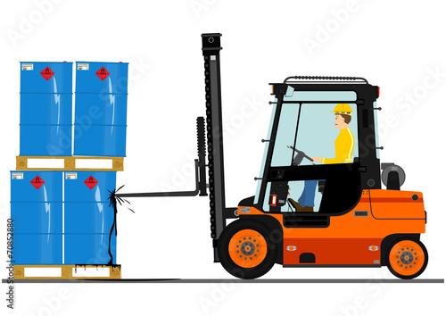 Forklift with a pallet of barrels.