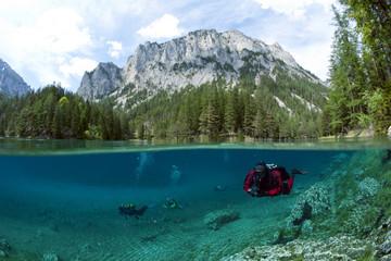 Österreich, Styra, Tragoess, Grüner See, Taucher
