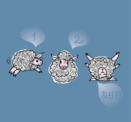 SLEEP! / Sketch of Three adorable sheep