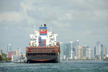 Cargo ship approaching Miami, Florda