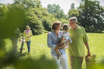 Drei Generationen Familie, auf einer Wiese
