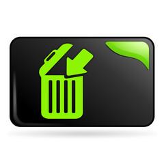 jeter à la poubelle sur bouton web rectangle vert