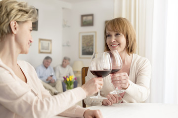 Zwei Freundinnen toasten sich mit Rotwein zu