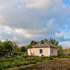 Розовый домик и огород