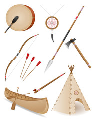 set icons objects american indians vector illustration