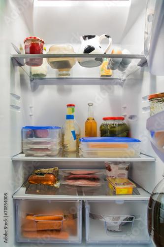 Leinwanddruck Bild Kühlschrank gefüllt