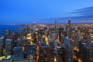 USA, Illinois, Chicago, Blick auf die Stadt von John Hancock Tower