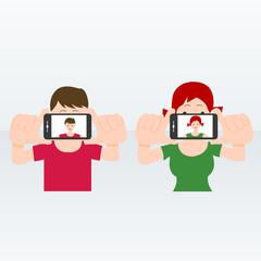 selfie people illustration