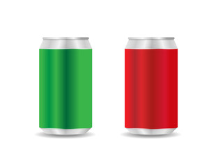 Red and Green Aluminium Can