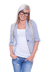 Young woman in blazer with glasses