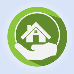Green Home on Hand Eco Concept Vector
