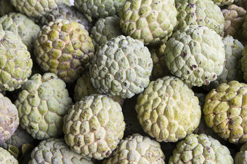 Pile of custard apples in the market