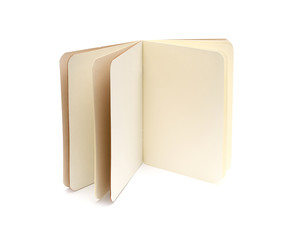 opened blank note books - soft pages texture - isolated on white