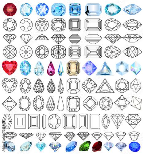 cut precious gem stones set of forms - 70855456