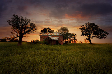Sunset Old Abandoned Farm House