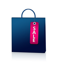 blue shopping bag and discount card isolated over white