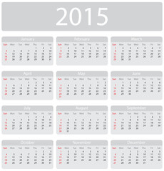 Minimalistic 2015 calendar - week starts with sunday