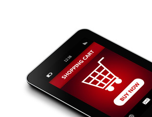 tablet with  shopping cart isolated over white