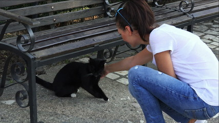 young girl playing with a stray cat