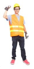 portrait of asian worker man wearing safety jacket hard hat and