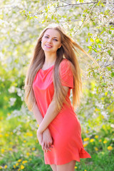 Beautiful smiling woman outdoor portrait
