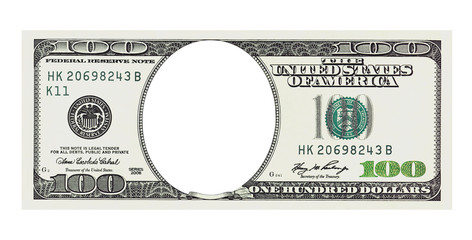 A hundred dollars bill with no face, clipping path