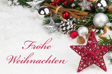 Weihnachtsstern mit winterlicher Deko