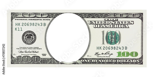 A hundred dollars bill with no face, clipping path - 70857242