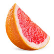 Grapefruit slice with drops isolated on white background